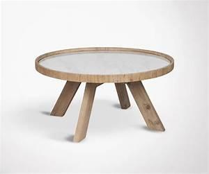 Table Basse Boheme : table basse 79cm ronde naturelle pied bois et plateau c ramique blanc ~ Teatrodelosmanantiales.com Idées de Décoration