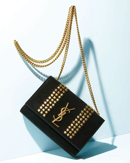 saint laurent kate monogram ysl small star studded suede chain crossbody bag neiman marcus