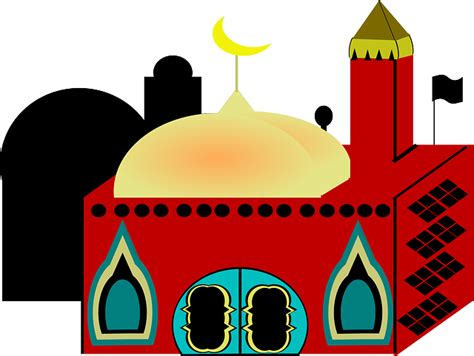 vector graphic muslims building mosque red