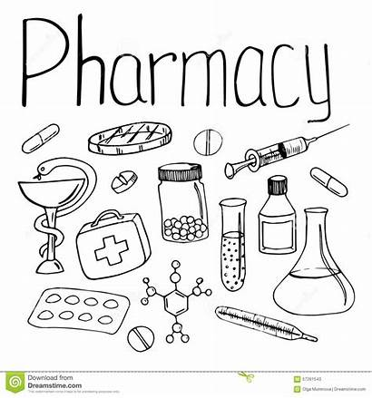 Pharmacy Coloring Pharmacist Printable Objects Linear Sketchite