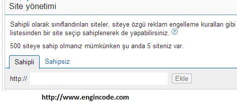 bir adsense hesabina birden  site ekleme engincodecom