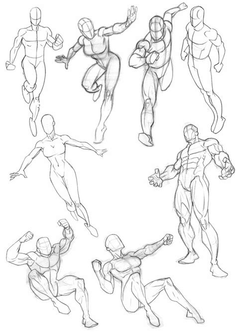 Dynamic Male Poses Drawing Reference