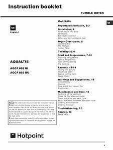 Aqcf852b Ariston Dryer User Manual