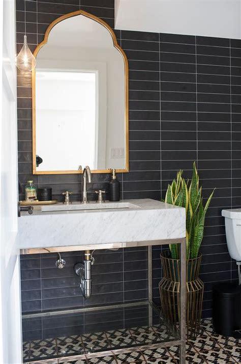 powder room  black  white chevron tiles