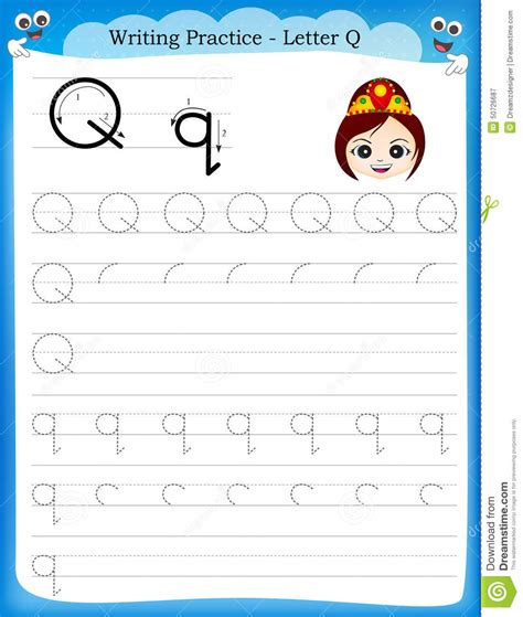 Writing practice letter Q stock vector. Illustration of ...