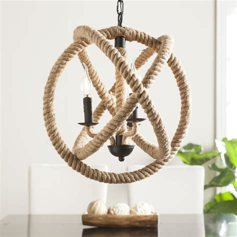 rope pendant light mayberly 3 light rope orb pendant l southern