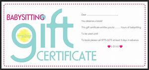 Babysitting gift certificate for Baby sitting gift certificate