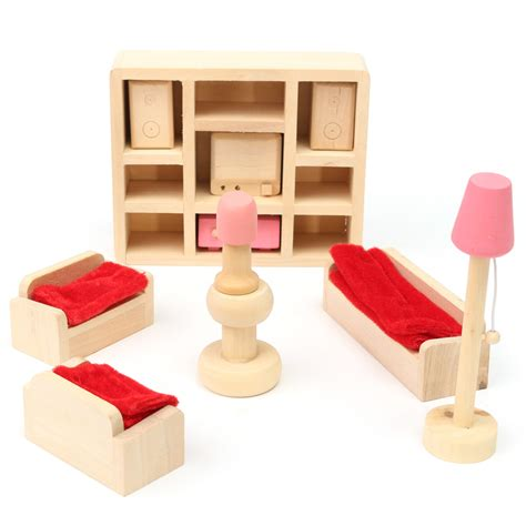 miniature dollhouse kitchen furniture wooden doll set children toys miniature house family