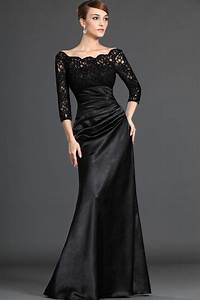 Black Lace Long Dresses with Sleeves for Girls ...