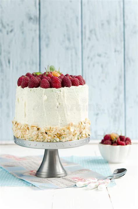 Sponge Cake With Raspberry Stock Image Image Of Mousse