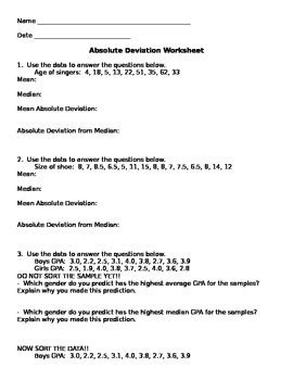 Mean Absolute Deviation Worksheet By Aunt B's Hive Of Middle School Math