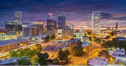 Tulsa Oklahoma Usa Ok Skyline Downtown Twilight