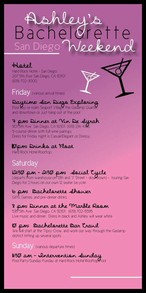 Bachelorette Weekend Itinerary By Oohlalovely On Etsy 22 Bachelorette Itinerary Sle Arts Arts