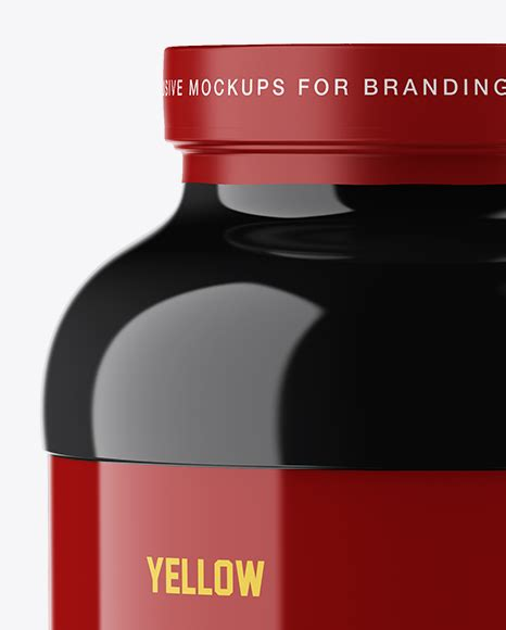 This mockup is available for purchase on yellow images only. Glossy Protein Jar Mockup in Jar Mockups on Yellow Images ...