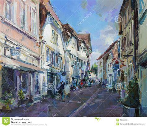 how to paint a l vieille peinture de paysage de ville illustration stock