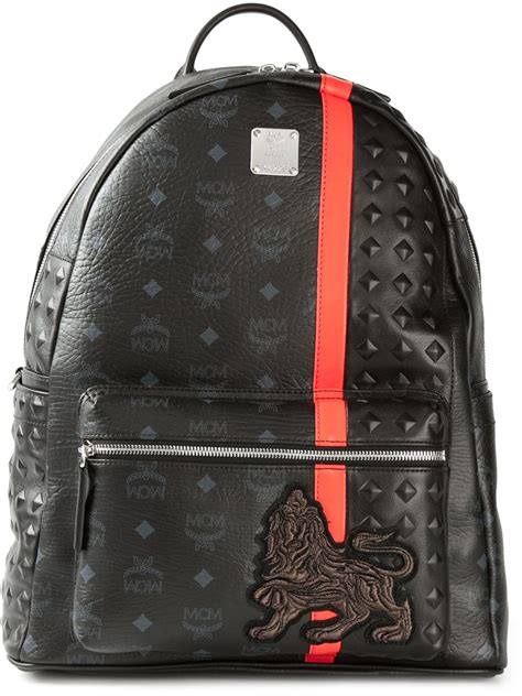 lyst mcm munich lion backpack  black  men