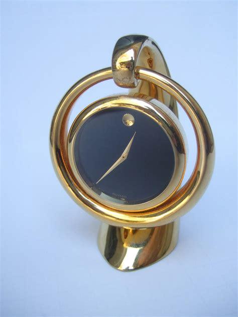 Movado Desk Clock movado sleek gilt metal diminutive desk clock at 1stdibs