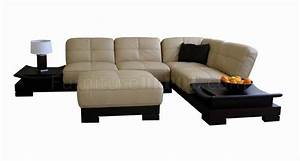 beige leather sectional sofa with built in side tables With sectional sofa side tables