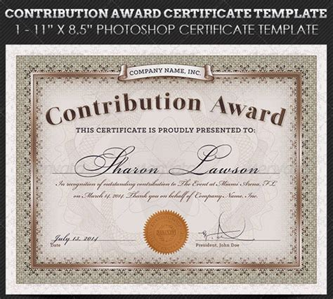 contribution templates award certificate template 23 free word pdf psd format