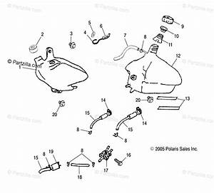Polaris Atv 2004 Oem Parts Diagram For Oil Tank  Fuel Tank