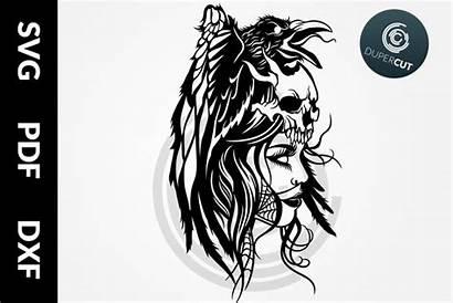 Goddess Morrigan Svg Template Pdf Papercutting Dxf