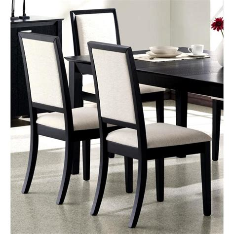 prestige cream upholstered black wood dining chairs set    overstockcom