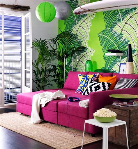 Hot Pink Sofa In Front Of A Model Of Green Wallpaper