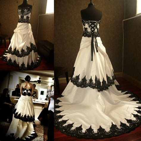 2015 a line white and black lace bridal gowns gothic plus