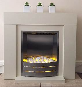 White, Stone, Electric, Fireplace, Perfect, Working, Order, And, In, Excellent, Condition