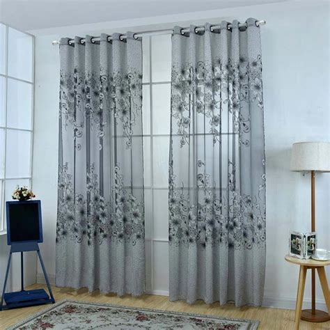 upscale floral tulle room door blackout window curtain