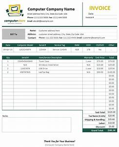 Computer service invoice template uniform invoice software for Computer repair invoice software
