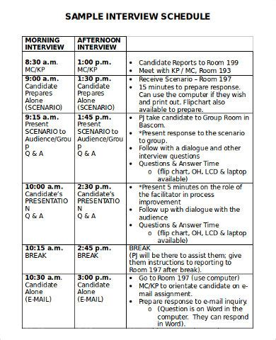 interview schedule schedule templates 7 free word pdf documents free premium templates