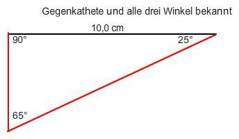 hypotenuse und ankathete berechnen mit gegenkathete  cm