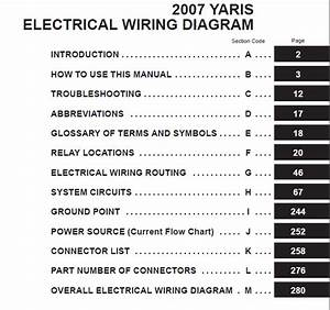 Toyota Yaris 2007 Electrical Wiring Diagram