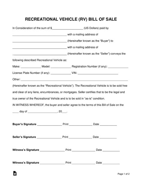 Boat Bill Of Sale With Witness by Free Recreational Vehicle Rv Bill Of Sale Form Pdf