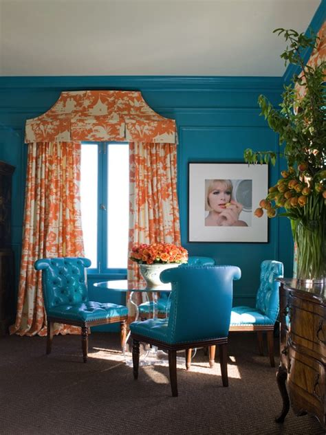 Turquoise And Orange Bedroom by Turquoise Blue And Orange Drapes Design Ideas
