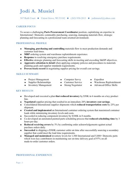 Purchasing Description Resume by Musiel Jodi A Resume Parts Procurement Coordinator
