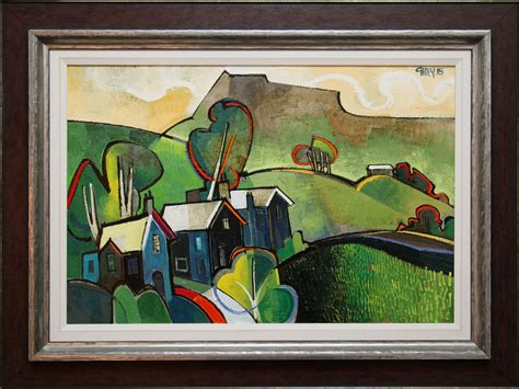 geoffrey key  houses landscape original painting