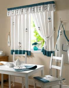 cottage floral readymade kitchen curtains  teal cream