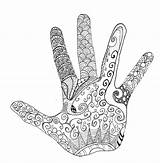 Hand Zentangle Coloring Adult Wrong sketch template