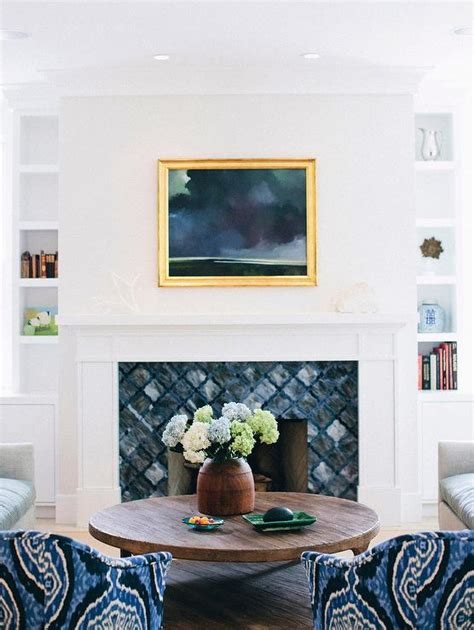 blue fireplace tiles transitional living room elle decor