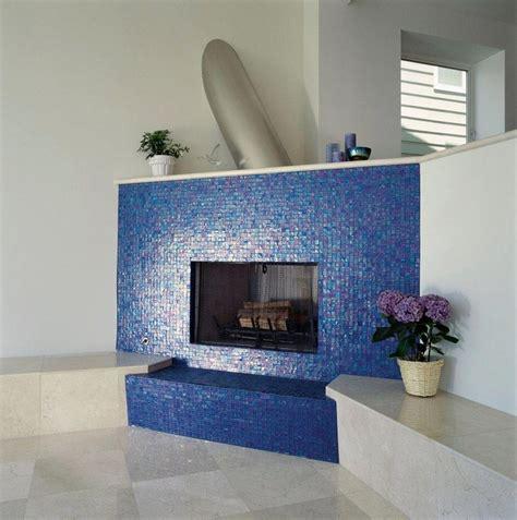 mosaic tile fireplace oceanside glass blue iridescent glass mosaic surrounds