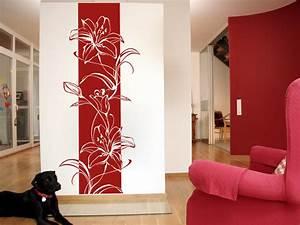 bluten wandbanner lilien von wandtattoonet With balkon teppich mit bordeaux rote tapete