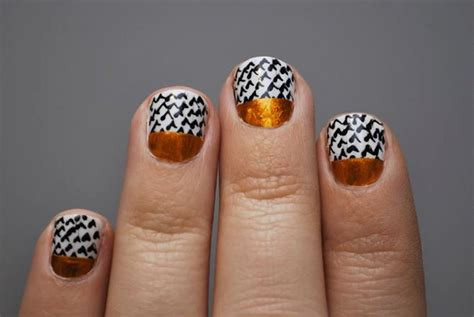Copper Black And White Wedding Nails