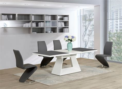 grey and white dining table white glass high gloss extending dining table and 6 grey z