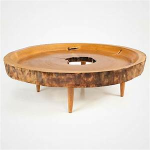 victoria round hollow wood slab coffee table rotsen With round wood slab coffee table