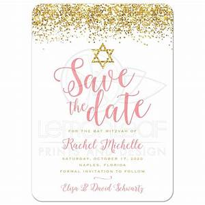 Bat Mitzvah Save the Date Cards - Gold Glitter Look ...