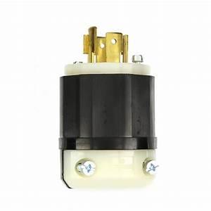 Leviton 20 Amp 120  208-volt 3-phase Locking Non-grounding Plug  Black  White-2441