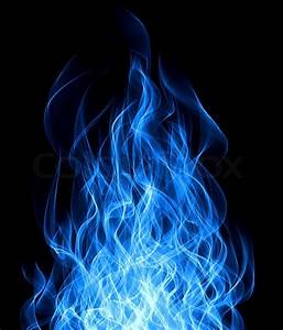 Blue gas fire flame on black background | Stock Photo ...