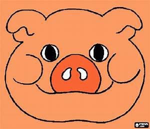 pig face coloring page, printable pig face